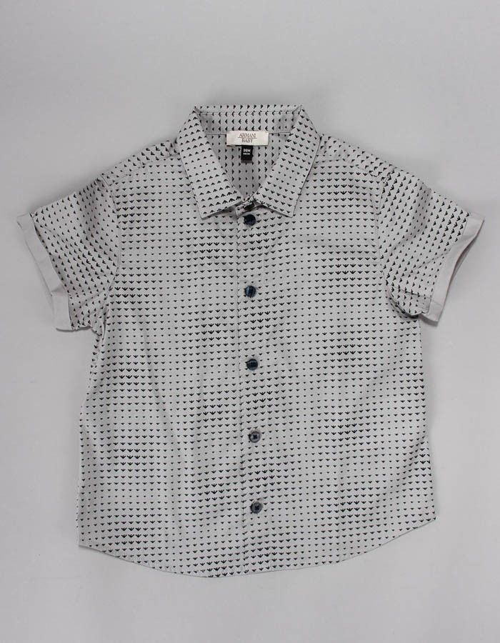Armani Junior Grey All Over Logo Shirt | Accent Clothing