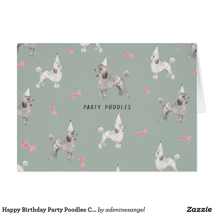 Happy Birthday Party Poodles Card