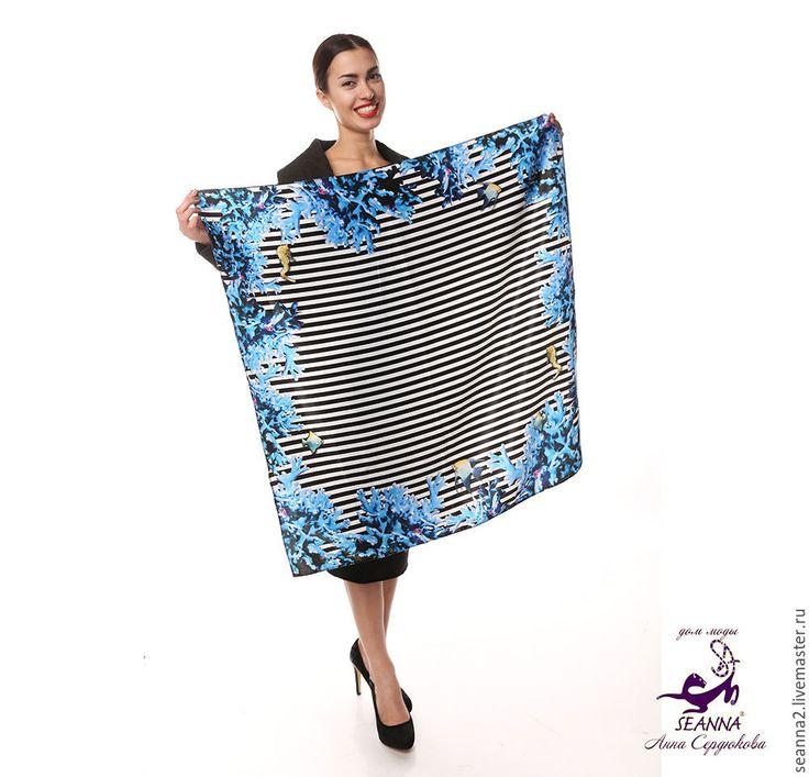 """Купить Платок """"Морские кораллы"""" с авторским принтом на атласе - чёрно-белый, платок, платок шелковый"""