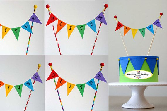 Colorful cake bunting topper hand made in the UK. Letters are hand stamped.Have something special factory free.