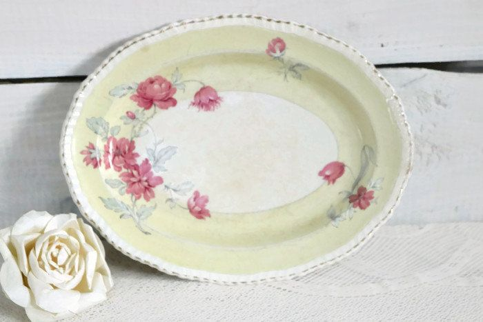 Wonderful Woods Ivory Ware, made in England Yellow and pink flower serving plate, country kitchen decor, vintage oval serving and dining by ShimmerTreeVintage on Etsy