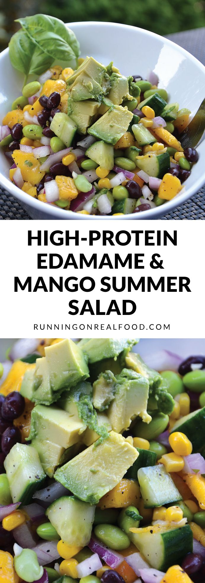 This high-protein edamame mango salad is easy to make, fresh, tangy, vegan, low in fat and perfect for summer picnics and potlucks!