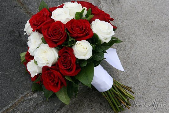 BB0557-Red and White Rose Hand Tied Bouquet  So beautiful!