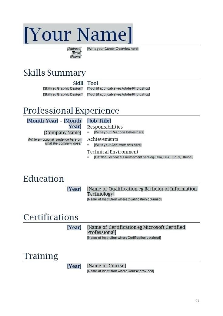 Resume Format Printable Resumeformat Functional Resume