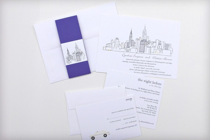 New York City - Custom city skyline for save the date, poster, wedding invitation, itinerary card digitally illustrated.