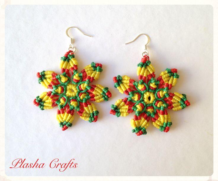 Macrame Earrings Aretes MANDALA RASTAFARI by Plasha Crafts