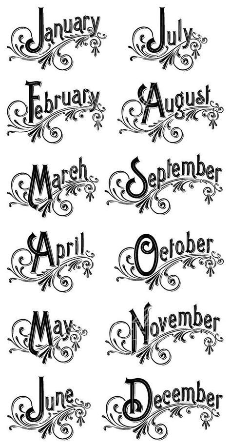 The months of the year in English with ruffles for News Bullet or other …