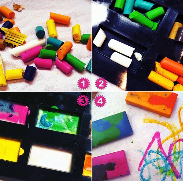 Récupérer des bouts de crayons de cire pour faire des bâtons à colorier...Les astuces de Sylvie