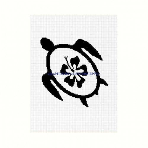 Seaturtle turtle hibiscus silhouette afghan crochet