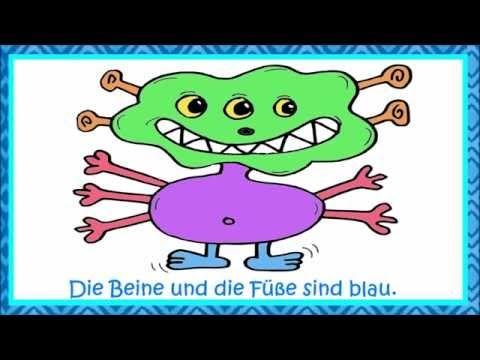 Deutsch lernen: Wir malen ein Monster - Körperteile, Zahlen und Farben lernen - YouTube