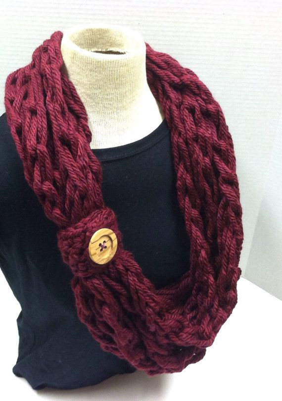 Vite Cowl Knitting Pattern : My crochet arm knit bulky rope scarf in Burgundy with button, as seen in the ...