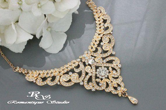 OR bijoux nuptial, Art déco, collier -
