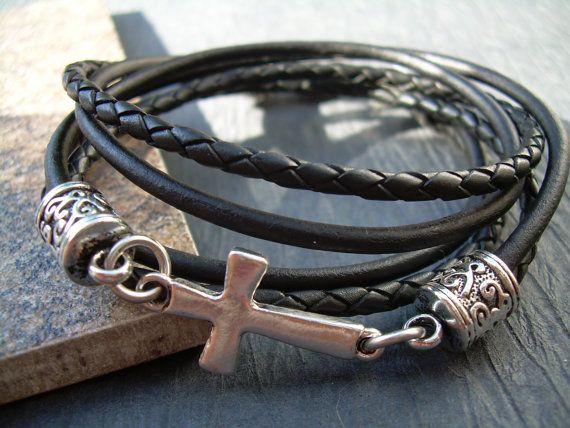 Leather Bracelet Natural Black Cross Bracelet Cross