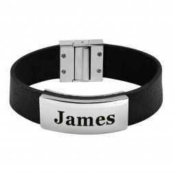 Stainless Steel ID Bracelet with Leather Trim (20x43mm). $45.00