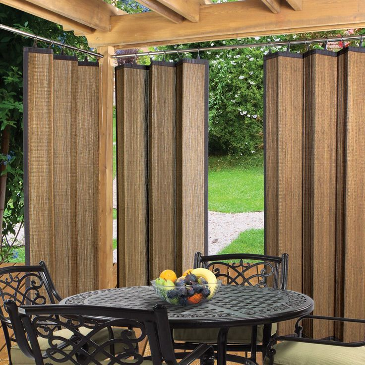 Espresso Bamboo Outdoor Curtain 40 x 84