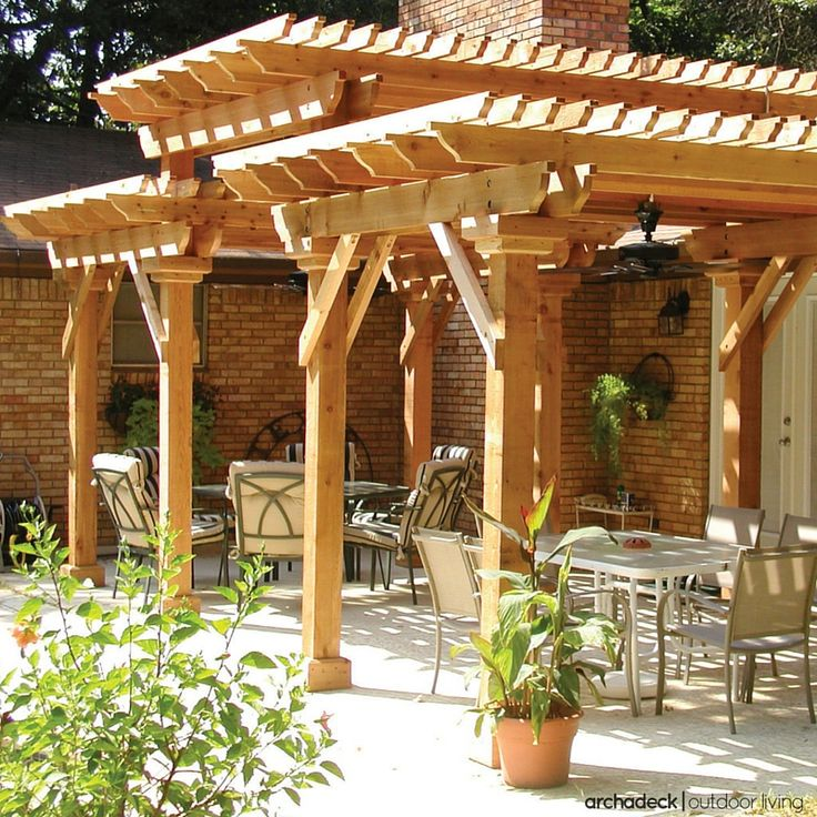 Turn A Plain Patio Into A Dramatic Backyard Focal Point. This Heavy Timber,