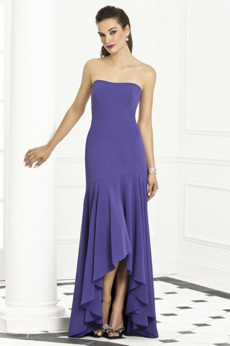 High Low Length Strapless Chiffon Dress With Trumpet Skirt