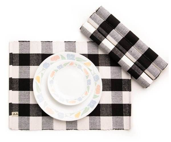 Black And White Placemats Buffalo Check Set Of 4 White Placemats Placemats Buffalo Check