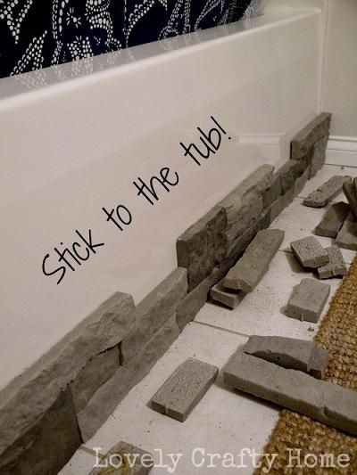 How To Hide Ugly Built-In Tubs With Faux Stone (amazing product for dressing up just about any surface!)