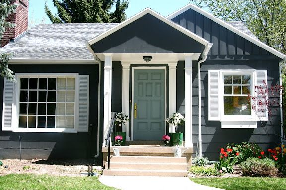 House colors dark gray with green door white trim light gray roof house color is martha for Blue grey exterior house paint