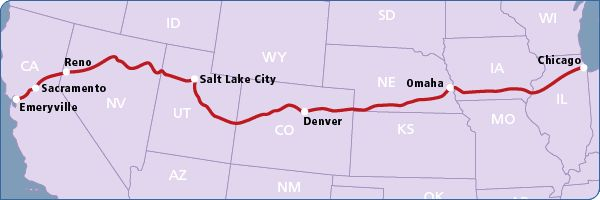 The California Zephyr Route.