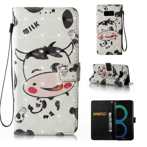Luxury 3D Cute Cow Leather Wallet Phone Case For Samsung Galaxy S8 ...