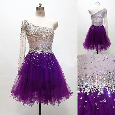 Grape Homecoming Dress,One Shoulder Homecoming Dresses,Tulle Homecoming Gowns,Short Prom Gown,Sweet 16 Dress