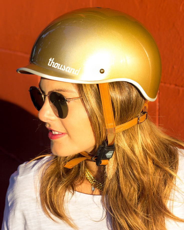 A bike helmet that actually looks cute. Vintage moto styling meets modern minimal design. Gold bicycle helmet by Thousand