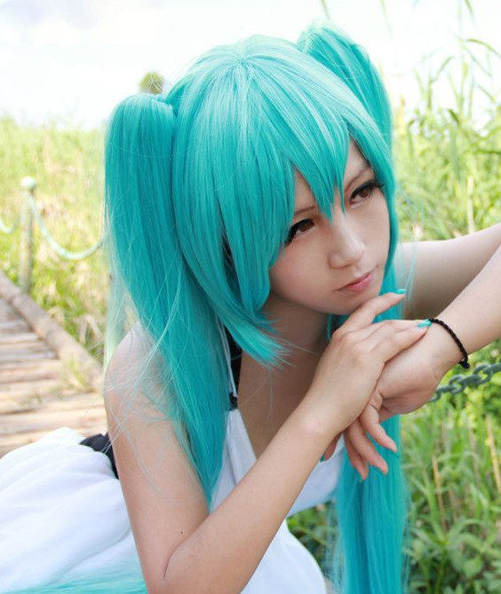High Quality 130cm Long Blue Vocaloid Miku Hatsune Wig Ponytails Synthetic Anime Party Cosplay Wig