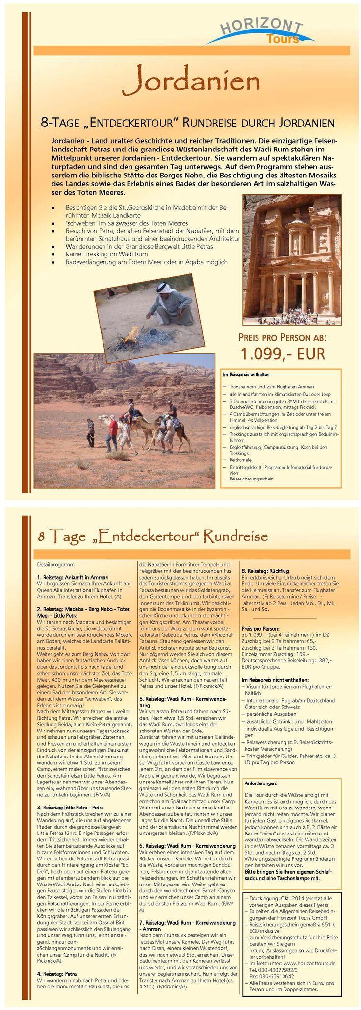 """8-Tage Rundreise durch Jordanien """" Entdecker Tour mit Kameltrekking""""."""