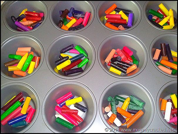 Crayon Crafts from MommyCracked.net - Unwrap and break the crayons into pieces, placing in a muffin tin.  Bake in oven preheated to 150 degrees for 20 minutes.  May need more or less time depending on mold size.  After removing from the oven, place the tin in the freezer until crayons harden.  It took our batch about 15-20 minutes.  Once hardened, the crayons will easily pop out, but be forewarned…they are very delicate and may crack easily.