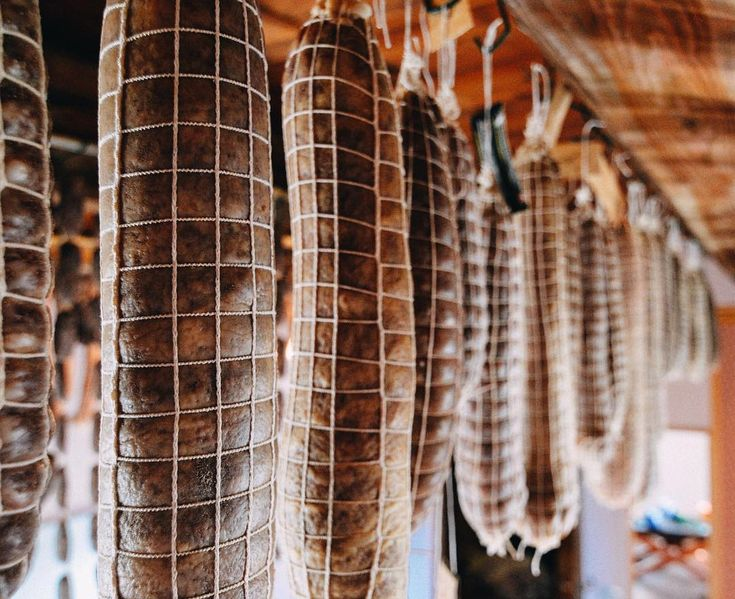 The salami are curing nicely! 55 kilos hanging from our rafters all made to share with our guests!