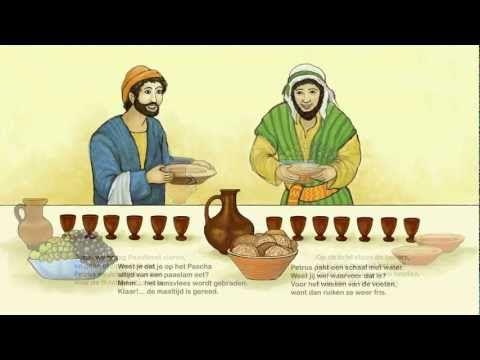 Filmpje: De Paasmaaltijd, Jezus wast de voeten van de leerlingen