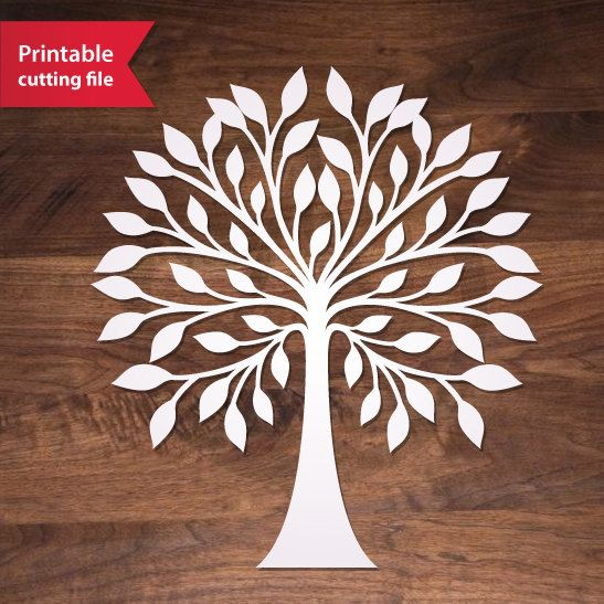 Laser cut tree teplate. Tree Vector for Silhouette or Cricut.