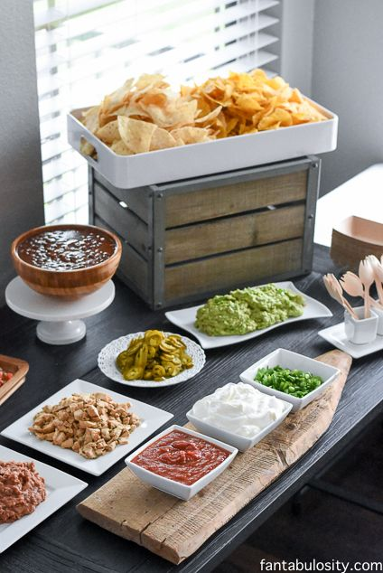 Nacho Bar Ideas! She said this was so easy, because she bought everything pre-made & pre-chopped!