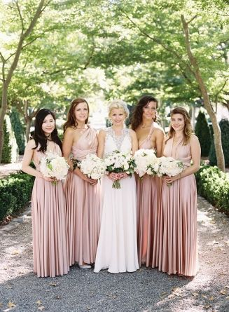 A Real Wedding Featuring Twobirds Bridesmaid Multiway Convertible Twist Wrap Dresses Dress Bouquetsjenny Packham