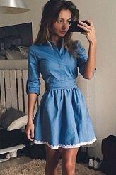 Lace Trim Shirt Denim Skater Dress
