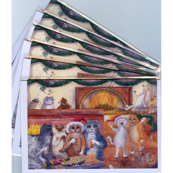 6 x carousing cats greeting holiday cards from watercolor