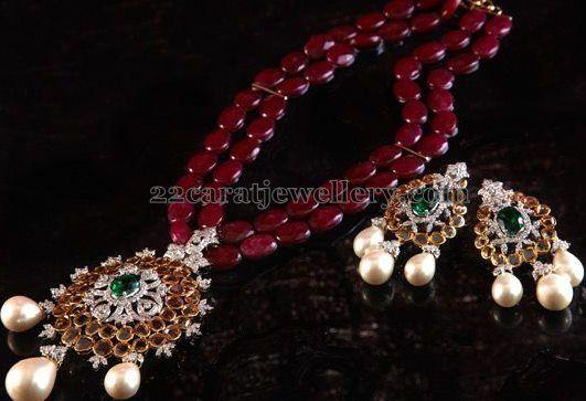 Natural Ruby Beads Long Set