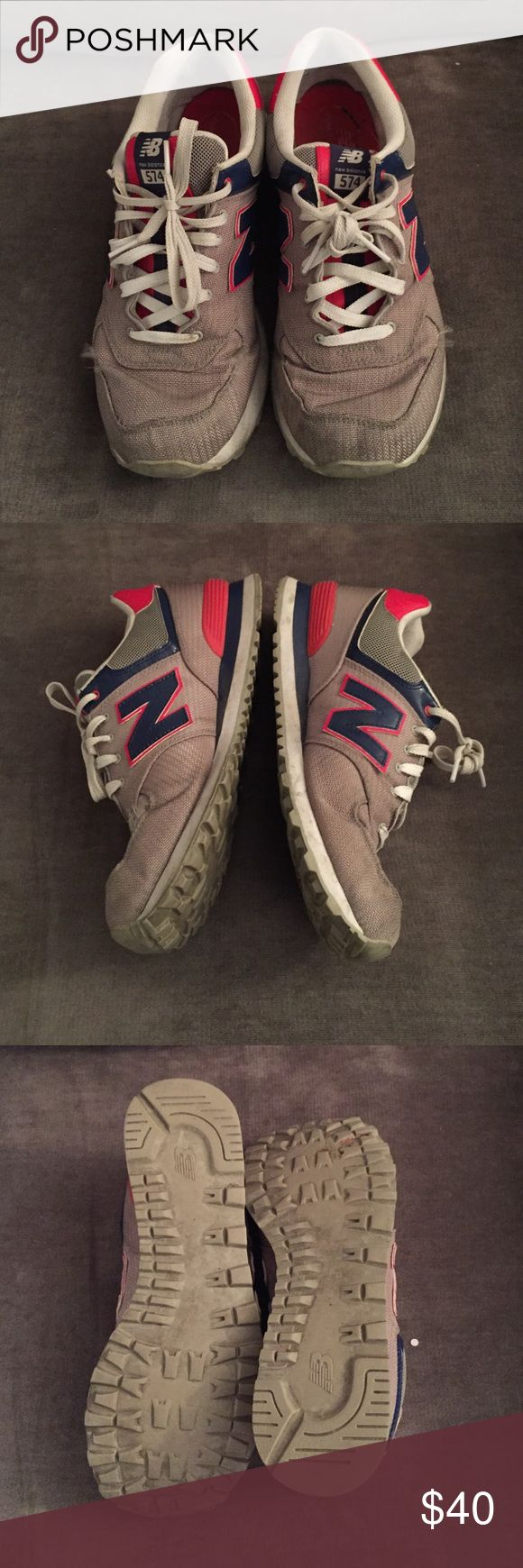 new balance 574 beige red blue