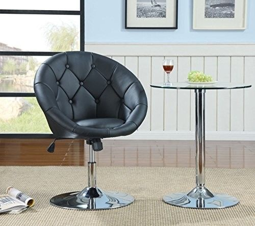 Round-Back-Swivel-Chair-Black-Home-Office-Furniture-Bar-Stool-Sitting-Room-New