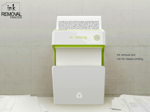 2089. Ink Remover Printer. A design concept, by Kim Su Yeon that proposes to use laser technology to remove ink from previously printed pages, recycling both paper and ink.