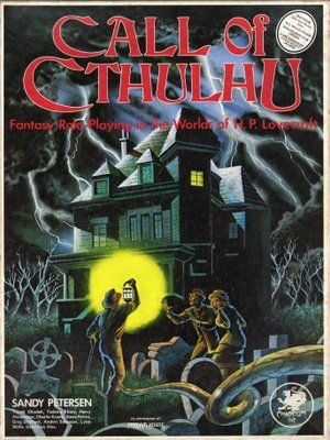 Call of Cthulhu, 1st edition [BOX SET] by Sandy Petersen (1981) | Book cover and interior art for Call of Cthulhu Roleplaying Game - CoC, Basic Role-Playing System, BRP, The Card Game, TCG, Living Card Game, LCG, Miskatonic University, H. P. Lovecraft, fantasy, horror, Role Playing Game, RPG, Chaosium Inc. | Create your own roleplaying game books w/ RPG Bard: www.rpgbard.com | Not Trusty Sword art: click artwork for source