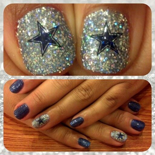 Dallas Cowboy Glitter Shellac.