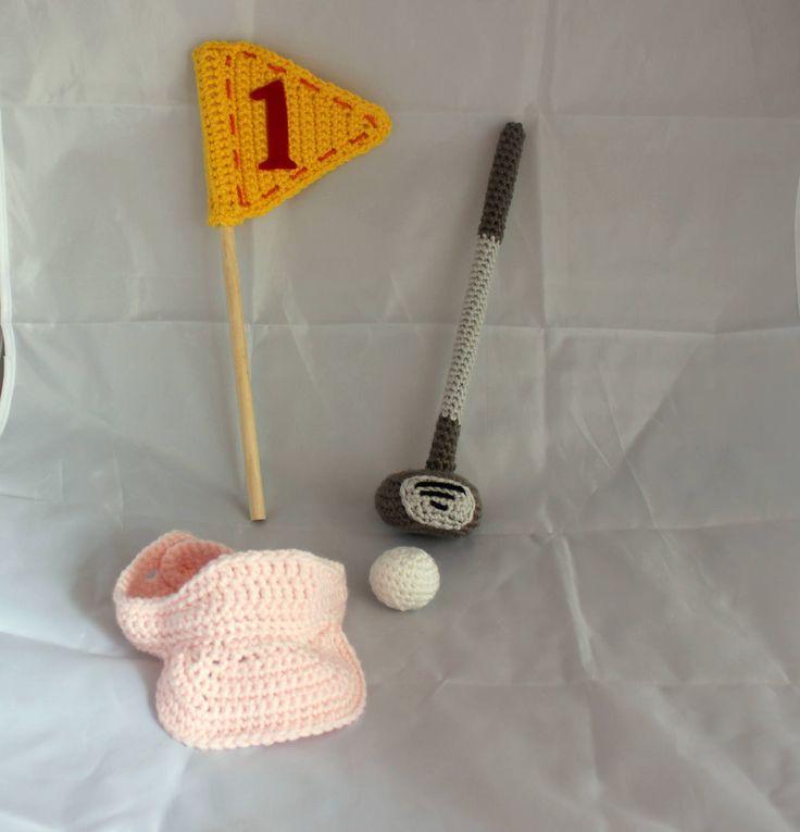 Crochet Newborn Golf Set - Newborn Photo Prop - Golf Club, Flag, Visor, Ball - Baby Golfer - Baby Golf Set - Photo Prop - Crochet Golf Set