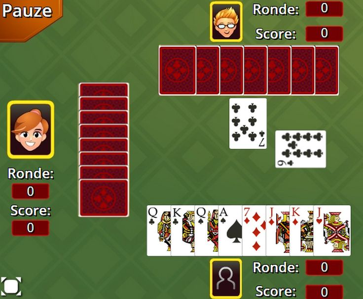 Dutch hearts game only in Dutch language. This version is played with 32 cards and each hearts card is one penalty point, the queen of spades is 5 penalty points and the jack of clubs is 2 penalty points.