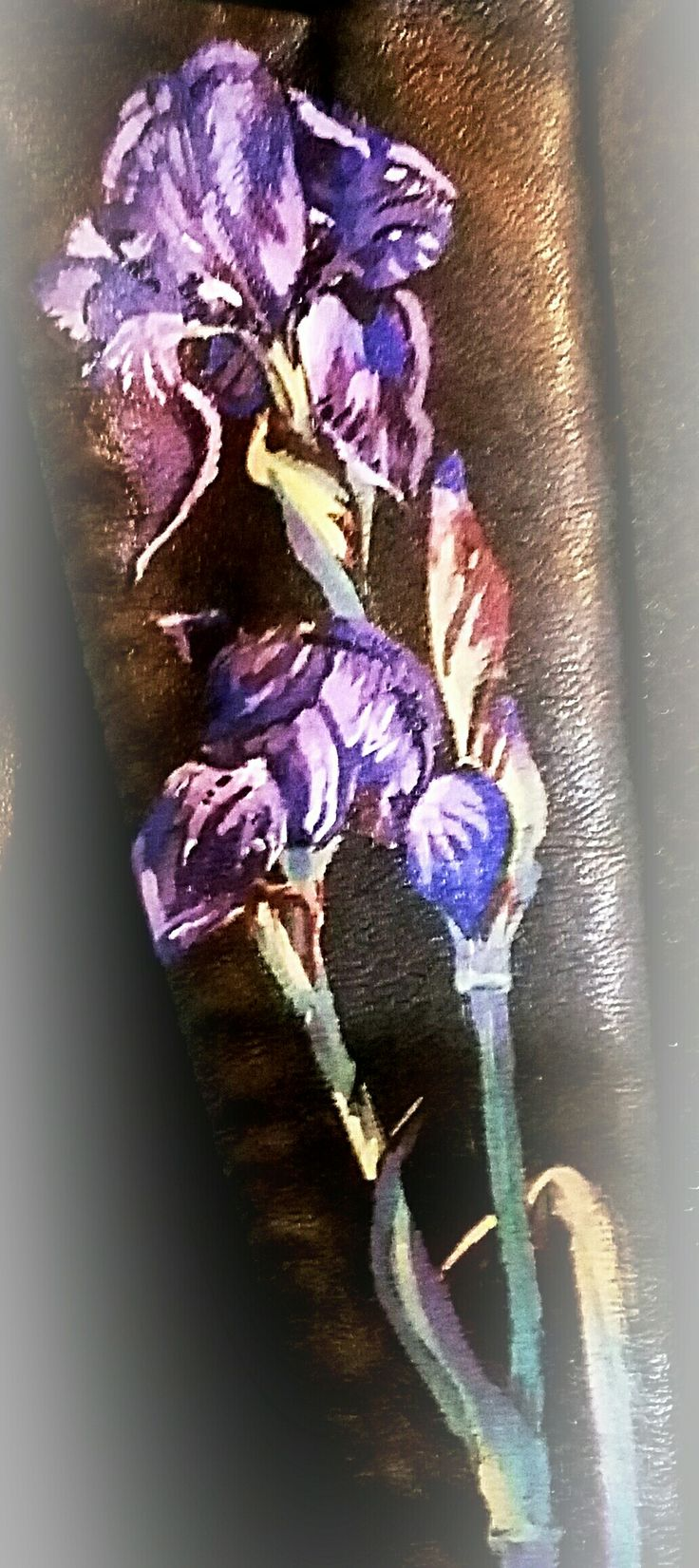 Hand painted Iris on the lapel of a  leather jacket