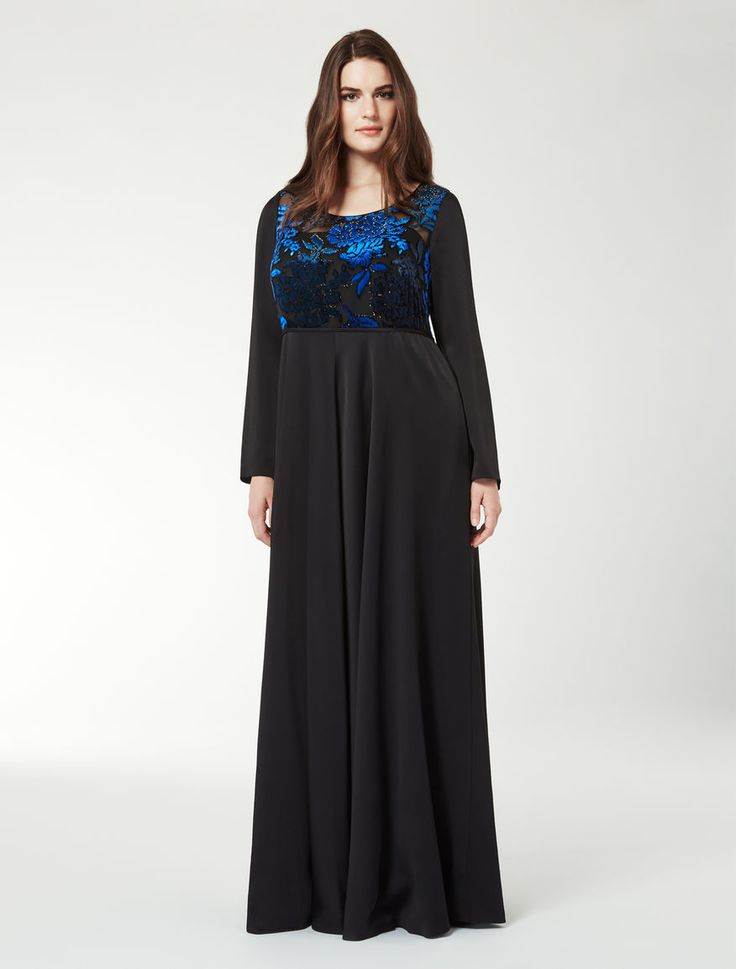 Marina rinaldi dubai black jacquard velvet dress with for Marina rinaldi wedding dresses