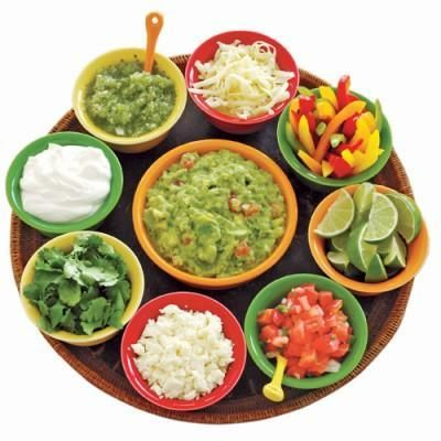 Fun taco toppings for a build-your-own taco buffet (great for a Cinco de Mayo party!)