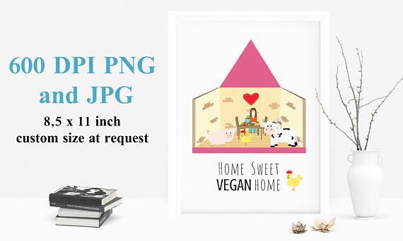 Home Sweet VEGAN home, Vegan Print, Vegan Wall art, instant download, Printable Wall Art, Kitchen Print, Digital Download Vegan Vibes
